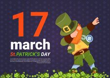 17 Macrh Happy St. Patricks Day Poster With Green Leprechaun On Template Background. Flat Vector Illustration Royalty Free Stock Image