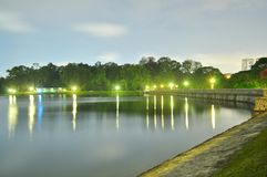 Macritchie Reservoir with trees by night Royalty Free Stock Images