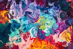 Macro étroit de la peinture à l'huile différente de couleur acrylique coloré Concept d'art moderne Images libres de droits