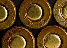 Macro of 7,62 caliber gun machine cartridges Royalty Free Stock Photos