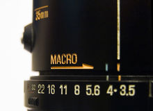 Macro. Word on a  Lens stock photography