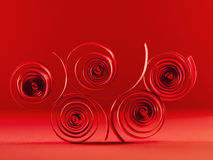 Macro, abstract, background picture of red paper spirals Stock Image