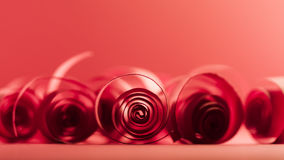 Macro, abstract, background picture of red paper spirals Stock Photos