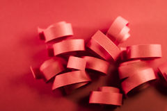 Macro, abstract, background picture of red paper spirals Royalty Free Stock Images