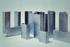 Macro abstracte Stad van nietjes royalty-vrije stock afbeeldingen