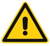 Macro aislada de la señal de peligro del triángulo del peligro del peligro Imagen de archivo