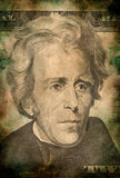 Macro of Andrew Jackson on ten USA dollar banknote grunge vintage style Royalty Free Stock Photography