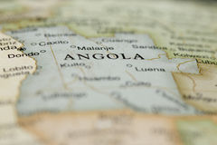 Macro of Angola on a globe. Narrow depth of field Royalty Free Stock Image