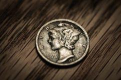 Macro antigua de la moneda Imagenes de archivo
