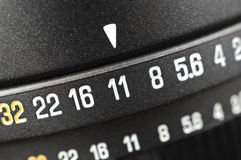 Macro of aperture scale. Close up of aperture scale on lens stock photo