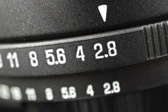 Macro of aperture scale Stock Photography