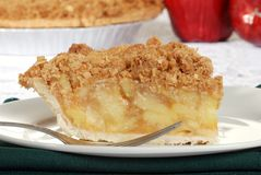 Macro apple crumble pie Stock Photos
