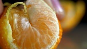 Macro arancio succosa del succo di flusso video d archivio