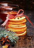 Macro Arranged Pancakes for Holiday Christmas Stock Photo