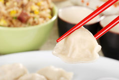 Macro asian dumpling Royalty Free Stock Photo