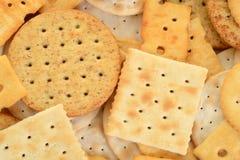 Macro assorted crackers Stock Photography