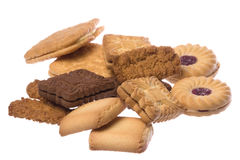 Macro Assorted dos biscoitos isolado foto de stock royalty free