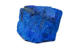 Macro Azurite mineral stone with Pyrite inserts on a white background. Close up stock photos