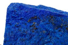 Macro Azurite mineral stone with Pyrite inserts on a white background. Close up royalty free stock photos