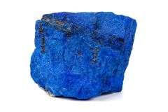 Macro Azurite mineral stone with Pyrite inserts on a white background. Close up stock photography