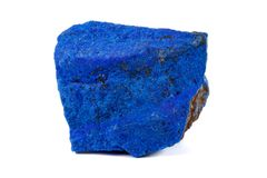 Macro Azurite mineral stone with Pyrite inserts on a white background. Close up stock images
