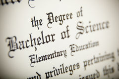 A macro of a Bachelor of Science Degree Royalty Free Stock Images
