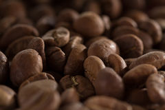 Macro beans black coffee, ready to brew delicious coffee Royalty Free Stock Photography