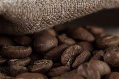 Macro beans black coffee, ready to brew delicious coffee Stock Photos