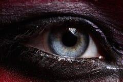 Macro beauty blue Eye with Smoky Makeup Stock Photos
