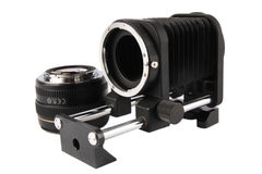 Macro bellows and lens Stock Photography