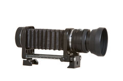 Macro Bellows & Lens. Macro bellows and lens used in ultra close up photography Stock Photos