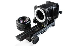Macro bellows and lens Royalty Free Stock Photo