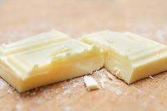 Macro bianca del taglio del cioccolato Fotografia Stock