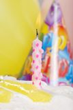 Macro Birthday Candle On Lemon Cake Royalty Free Stock Photography