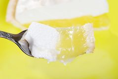 Macro bite of lemon meringue pie Royalty Free Stock Image
