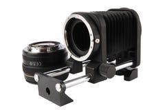 Macro blaasbalgen en lens Stock Fotografie