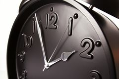 Macro of black alarm clock Stock Image