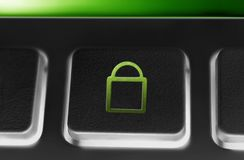 Macro Of A Black Button With Green Closed Security Lock Icon. A Macro Of A Black Button With Green Closed Security Lock Icon Stock Photos
