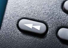 Macro Of A Black Rewind Button On Black Remote Control For A Hifi Stereo Audio System Royalty Free Stock Images