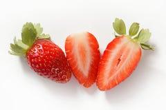 macro blanc de studio de fraise de fond Image libre de droits