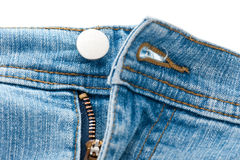 Macro of blue denim jeans zipper Royalty Free Stock Photo