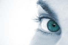 Macro blue eye of woman Royalty Free Stock Photo