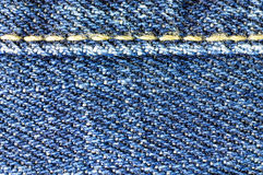 Macro of blue jeans with joint Stock Photo