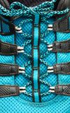 Macro of blue shoelaces Royalty Free Stock Images