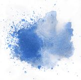 Macro blue watercolor splash, isolated on white background Royalty Free Stock Photos