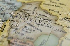 Macro of Bolivia on a globe stock photography