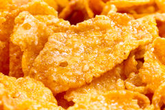Macro of breakfast corn flakes Royalty Free Stock Photography