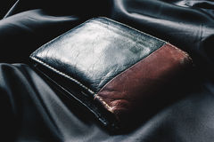 Macro business leather wallet Stock Photos