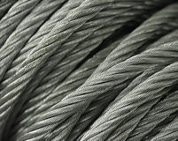 Macro câbles en acier photo stock