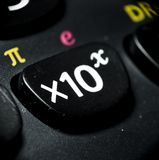 Macro of calculator buttons, mathematical concept Stock Photos